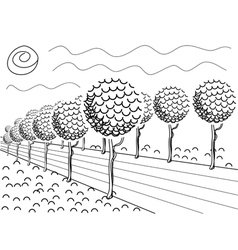 Alley with trees graphics vector