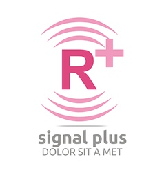 Logo signal letter r plus pink alphabet wireless vector