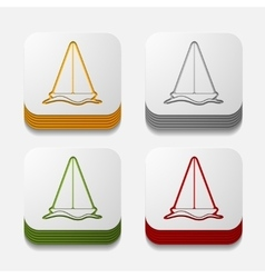 Square button sailboat vector