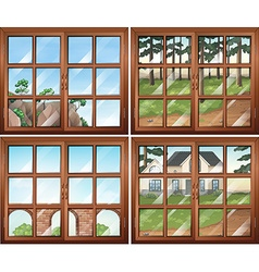 Four scene from windows vector