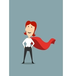 Businesswoman standing in hero red cape vector