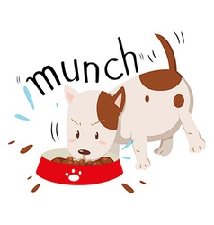 Little dog munching alone vector