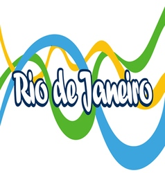 Abstract rio de janeiro logo with national flag co vector