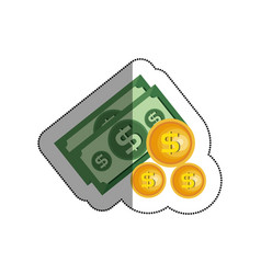 Bills dollars with coins isolated icon vector