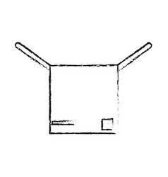 Blurred silhouette cartoon box of cardboard opened vector
