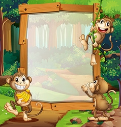 Border design with three monkeys in jungle vector image
