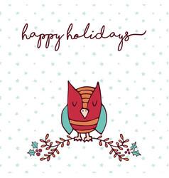 Christmas decoration nature cute owl cartoon card vector