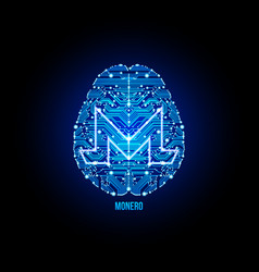 Crypto currency monero on brain background vector