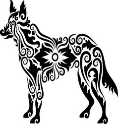 Dog tattoo 2 vector image
