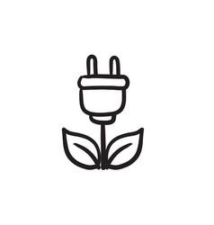 Eco green energy sketch icon vector