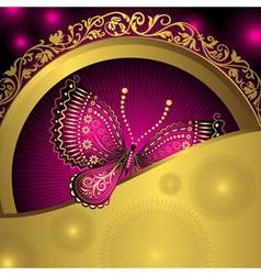 Gold vintage frame with purple lacy butterflies vector image