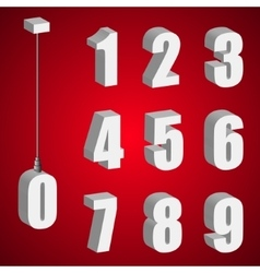 Hanging light bulb digits 3d isometric numbers vector image