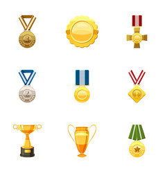 Honorable medals icons set cartoon style vector