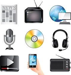 icons massmedia vector image vector image