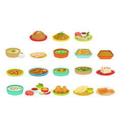 Indian food signature dishes set vector
