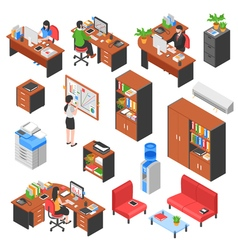 Isometric office elements set vector