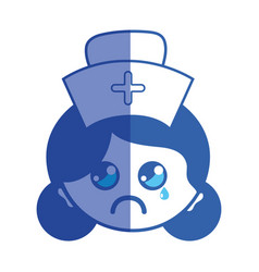 Line kawaii professional nurse face with hat in vector