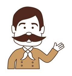 man with mustache avatar character vector image