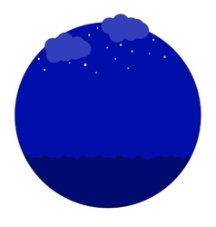 night in the sea icon vector image