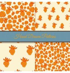 Orange Strawberry Pattern Set vector image vector image