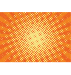 Orange yelow rays and dots pop art background vector