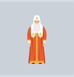 Orthodox patriarch in red soutane representative vector