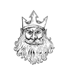 poseidon wearing trident crown woodcut vector image