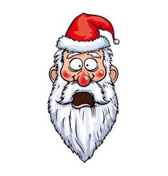 Santa claus shocked head vector