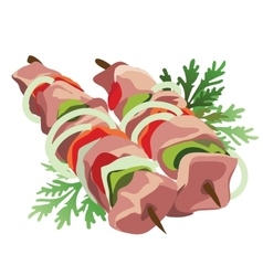 Shish kebab on a stick with vegetables and herbs vector image vector image