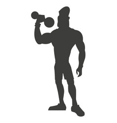 silhouette healthy man weight lifting vector image vector image