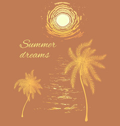 Summer template with ocean sunset and palms vector