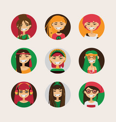 user avatars of cute rastafarian girls with vector image vector image