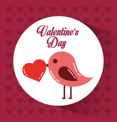valentines day card bird with heart in beak vector image