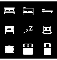 white bed icon set vector image vector image