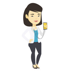 Woman measuring heart rate pulse with smartphone vector