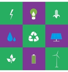 Green energy and recycling icons set vector