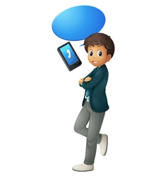 boy and cell phone vector image