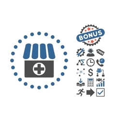 Drugstore flat icon with bonus vector
