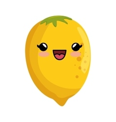 Kawaii cute lemon citrus yellow icon vector