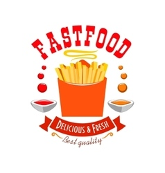 French fries emblem best quality fast food icon vector