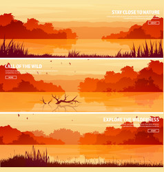 Mountains with forest and lake river trees vector