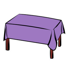 table with tablecloth icon cartoon vector image