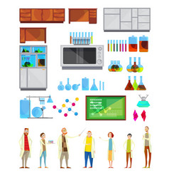 Students in chemical laboratory elements vector