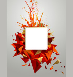 Geometric abstract banner with bright red color vector