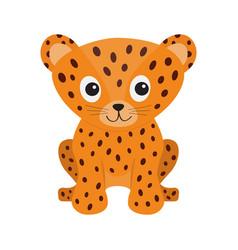 Jaguar leopard sitting wild cat smiling face vector