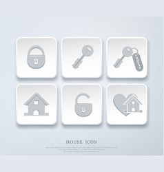 Set of icons with small house key open closed vector