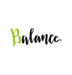 Hand lettering balance logo or sport center icon vector
