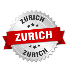 Zurich round silver badge with red ribbon vector