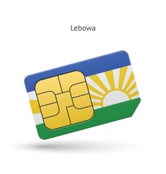 Lebowa mobile phone sim card with flag vector