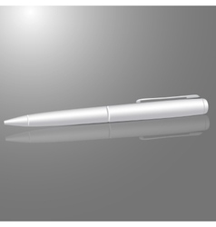 Blank white ball pen isolated on gray background vector